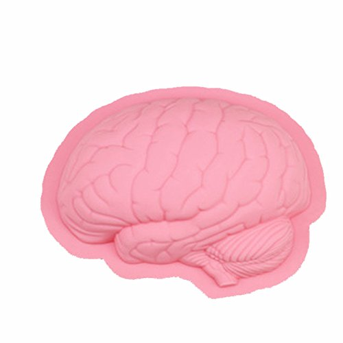 Neomark Halloween Party 3D Human Brain Silicon Mold Ice Cube Tray Jello Chocolate Mold Cake Fondant Mold, Cake Decoration Tools, Soap, Candle Mould (pink)