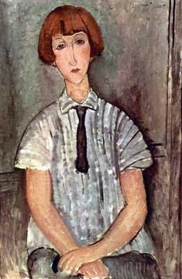 A3 Glossy Gloss photo image print classic painting Girl with blouse Modigliani