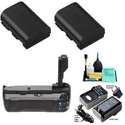 VIVITAR BG-E7 Vertical Battery Grip for Canon EOS 7D Digital SLR Camera +2 LP-E6 Decoded long life Batteries with a Rapid Mini Charger + DIGI Pro Maintenance Kit
