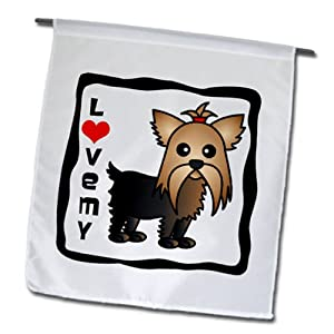 3dRose fl_10819_1 I Love My Yorkshire Terrier Yorkie Garden Flag, 12 by 18-Inch