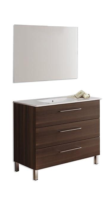 Set di Bagno Kayla: Mobile 90x 46cm. + Piano Ceramica + specchio liscio Fresno tea