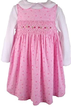 Fall Winter Rare Editions Girls Pink Floral Print Smocked Jumper Dress-6-9 Months