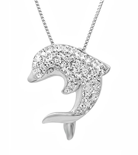 """1//4 Ct Peridot Double Dolphin Pendant Necklace 14K Yellow Gold Over Sterling 18/"""""""