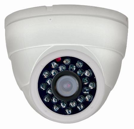 Indoor Day/Night Dome Camera With Audio - Wht Housing With White Earbud Headphones