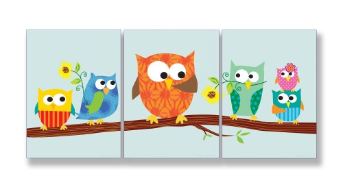 The Kids Room by Stupell Owls on a Branch with Sunlowers 3-Pc. Rectangle Wall Plaque Set