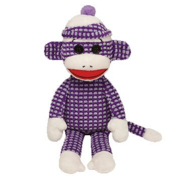 Ty Beanie Babies Sock Monkey Plush, Purple Quilted