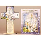 Lourdes Wooden Standing Cross with Prayer and a 24 page Novena Booklet