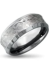 Sale! King Will 8mm White Tungsten Ring Concaved Celtic Knot Dragon Ring Men's Wedding Band Free Ring Box