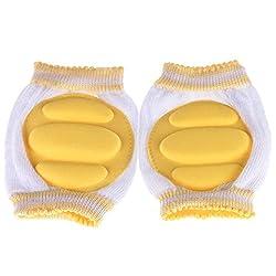 NammaBaby Knee/Crawl Pad White And Yellow -1 Pair