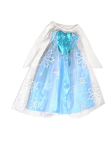 HBB Girl Snow Queen Princess Ice Blue Dress Costume Size 9-10, Large