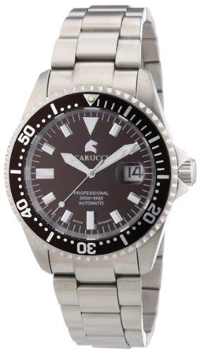 Carucci Watches Calabria CA2185BR - Reloj analógico automático para hombre, correa de acero inoxidable (agujas luminiscentes, cifras luminiscentes)
