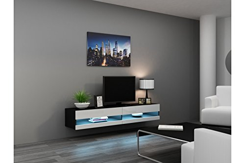 Seattle ver 80 led tv stand high gloss tv stand for Meuble mural 80