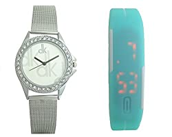 Combo Pack Of 2 Watches Silver Stainless Steel Strap & LED Watches (dk-157)
