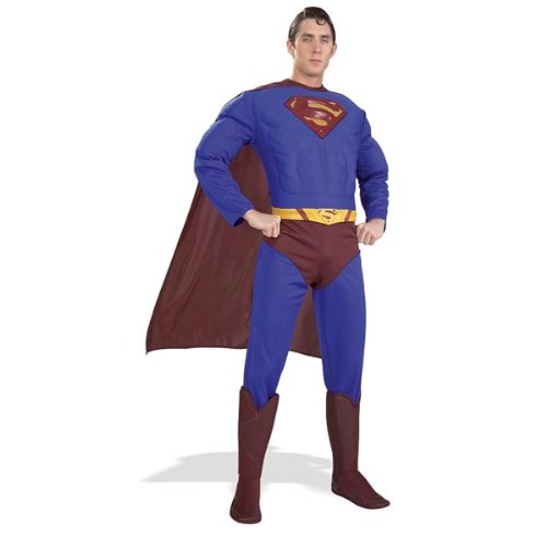 DC Comics Deluxe Muscle Chest Superman Costume, As Shown, Large