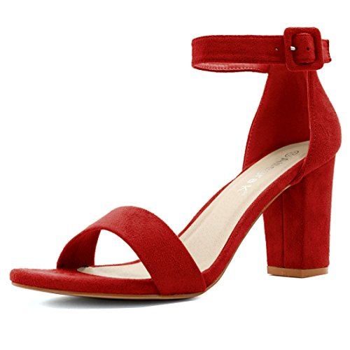 Allegra K Woman Open Toe Chunky Mid Heel Ankle Strap Sandals Red (Size US 7.5) (Red Heels compare prices)