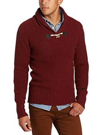 Moods of Norway Men's Solve Pullover Toggle Sweater, Bordeaux, Medium