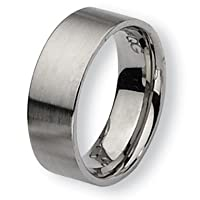 Chisel Brushed Flat Stainless Steel Ring (8.0 mm) - Size 9.0