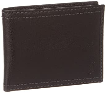 J.Campbell Men's Passcase with Double Edge Stitching and Embossed Logo, Black, One Size