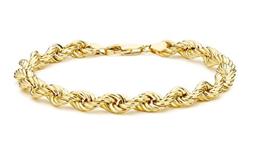 Carissima Gold 9 ct Yellow Gold Semi Hollow Rope Bracelet of 20 cm/8-inch