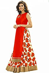 RADIATO ES New Fancy HIGH Quality Fabric RED And White Flower Print Indo Western Lehenga