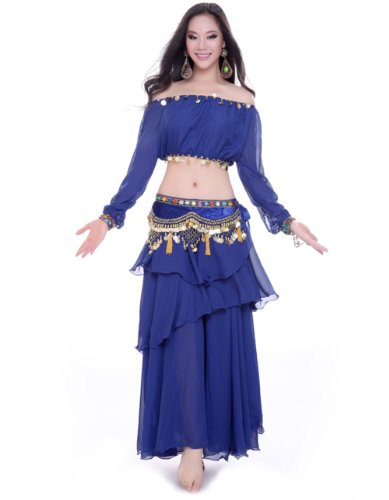 Dance Fairy Royal Blue Indian belly dance Upscale chiffon Flannel dance suit(3 items)