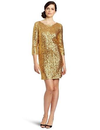 Anne Klein Women's Sequin Dresss, Gold, Small
