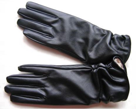 Fashion Women's Black Faux Leather Gloves Winter