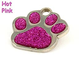 Glitter Paw Print Bling Pet ID Tag, Custom Engraved (Pink)