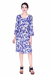 MSONS Women's Blue Monochrome Printed Square Neck Short Dress in Rayon Fabric
