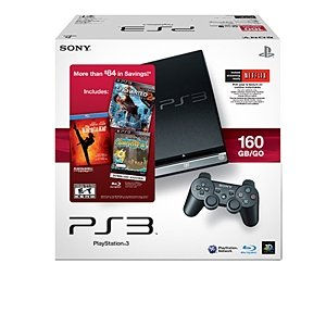 PlayStation 3 160GB System with Uncharted 2: Among Thieves, PixelJunk Shooter [Online Game Code], and The Karate Kid [Blu-ray] - 2010 Black Friday Bundle