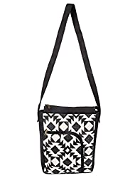 Trendy Cotton Geometric Shoulder Bag Off-White Printed For Ladies By Rajrang