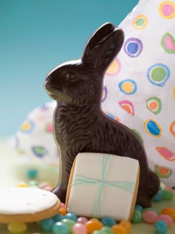Chocolate Easter Bunny  Jellybeans and Cookies,