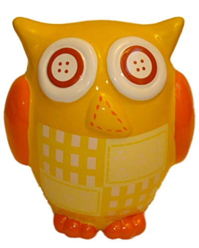 Yellow Resin Owl Kids Piggy Bank Hand Painted