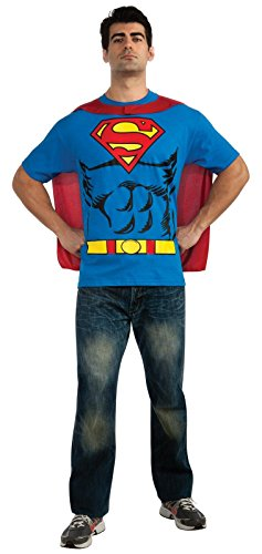 DC Comics Superman Costume T-Shirt With Cape - M to XL.