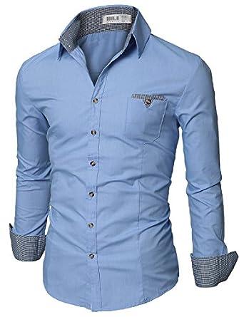 Herren Smokinghemd mit einem karierten Brusttaschen M (46) blau(D063)