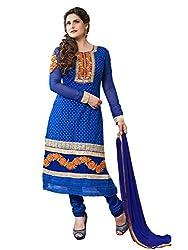 Blissta Blue embroidered geogette Unstitched karachi suit