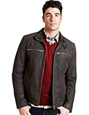 Big & Tall North Coast Suede Leather Biker Jacket