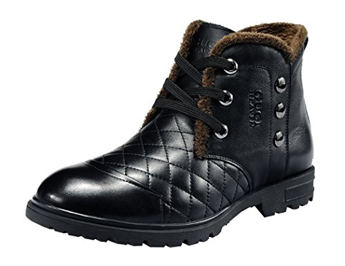 Guciheaven Winter Men New Style Caual Cow Leather Short Boots(7 D(M)Us, Black)