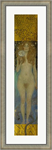 Nuda Veritas, 1899 by Gustav Klimt Framed Art Print Wall Picture, Silver Scoop Frame with Hanging Cleat, 15 x 44 inches