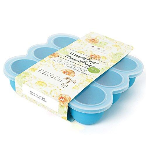 Contenitore per pappa bimbi in silicone con 9 stampini - Ideale per prima pappa, conservazione latte materno, preparazione di dolci - Adatto a freezer, lavastoviglie e forno - Materiale 100% sicuro