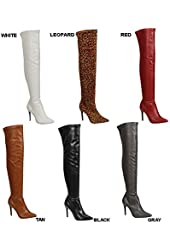 Breckelle's BEVERLY-16 Women's Pointy Toe Side Zip Stiletto Over Knee High Boots