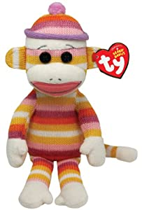 "Ty Beanie Babies Sock Monkey Pastel Stripes 8"" Plush"