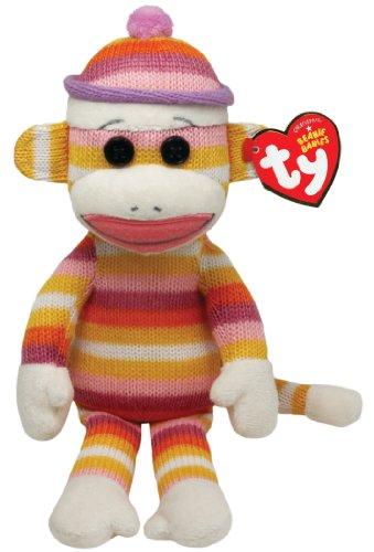 "Ty Beanie Babies Sock Monkey Pastel Stripes 8"" Plush - 1"