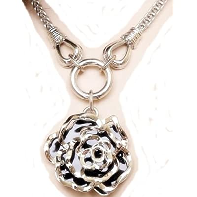 Improving Lifestyles HOT BOLD Fashion Jewelry Necklace 16 inch with 3 inch extension add 2 inch for Flower Elevated Pendent with Black Enamel Background