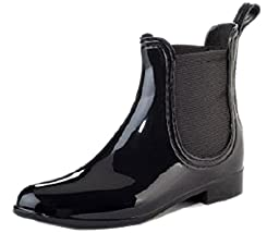 Henry Ferrera Women\'s Clarity Waterproof Rain Boots (7 B(M) US, Shiny Black)