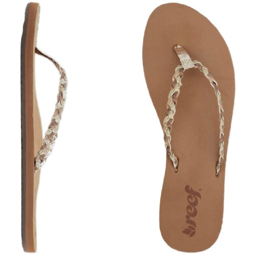 Reef Women's Twisted Stars Flip Flop, Tan/Champagne, 9 M US
