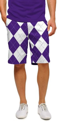 Loudmouth Golf Mens Shorts: Purple & White Argyle - Size 40 by Loudmouth Golf