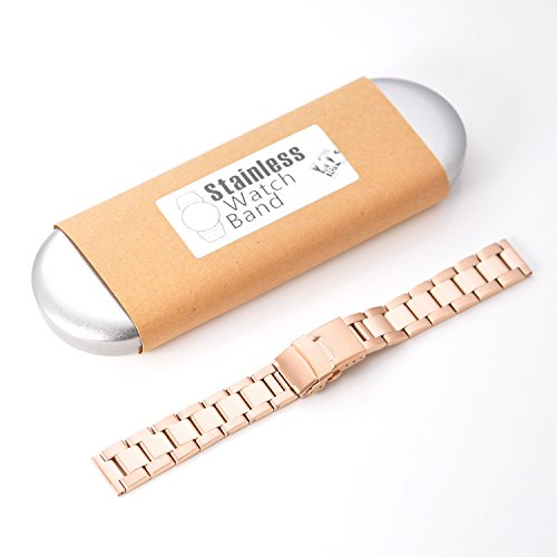 KR-NET 18mm Stainless Steel Metal Strap Watch Band for Withings Activite Pop Steel (Classic/Rose Gold)