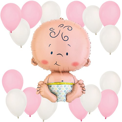 Girl Baby Balloon Kit (Pink and White)