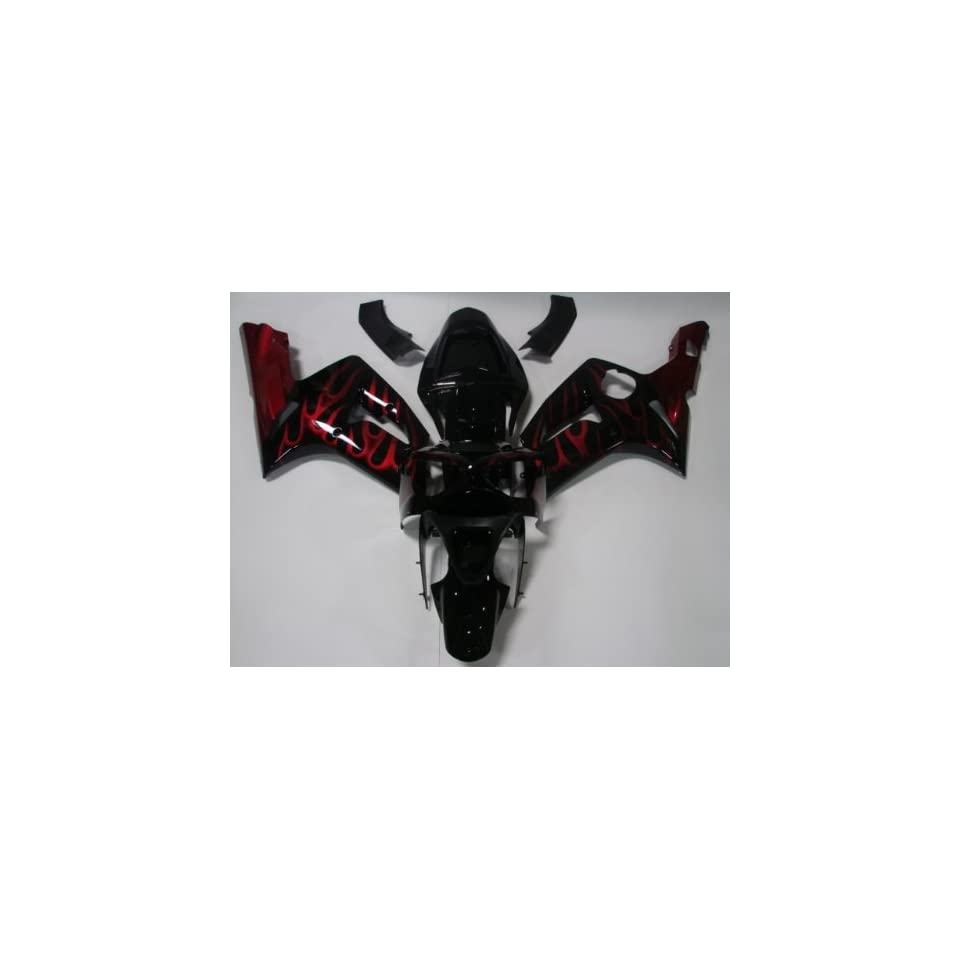 2003 2004 Kawasaki Ninja ZX 6R 636 ZX6R Black with Red Flame Complete Fairing Set Plastic Kit ABS Automotive